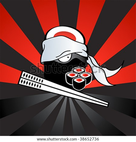 Sushi ninja with dangerous katana-chopsticks and spicy rolls - stock vector