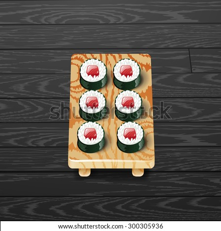 sushi roll japanese food with fish vector illustration.Tekka maki - stock vector