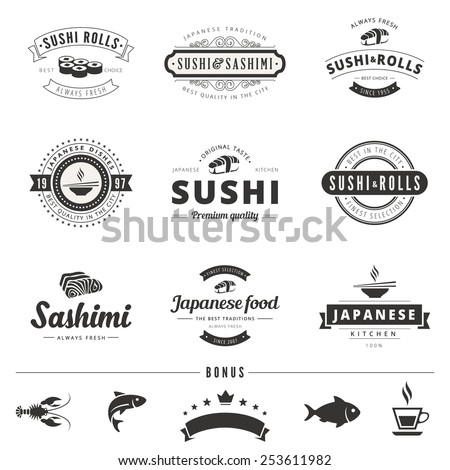 Sushi Rolls Sashimi Retro Vintage Labels Hipster Logo design vector typography lettering templates.  Old style elements, business signs, logos, logotypes, label, badges, stamps and symbols. - stock vector