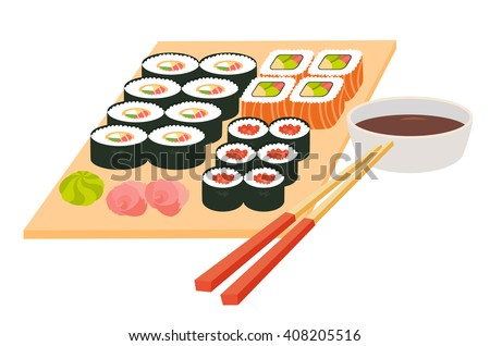 Sushi set.Japanese seafood vector.Asian restaurant food on table.Big sushi set with chopsticks, soy souse, rice with fish fillet, cartoon style.Vector illustration isolated on white background, flat - stock vector