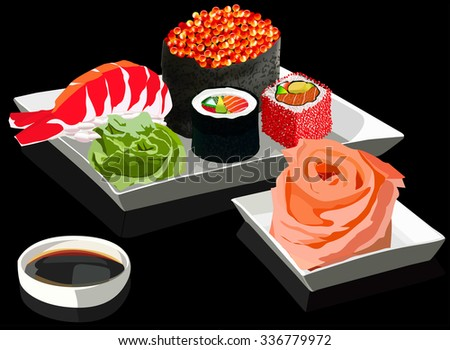 Sushi set on square plates, with ginger and soy sauce. On a black background. Vector illustration - stock vector