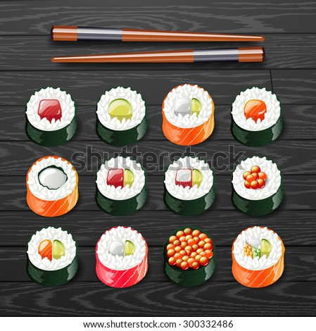 sushi set roll japanese food with fish vector illustration - stock vector