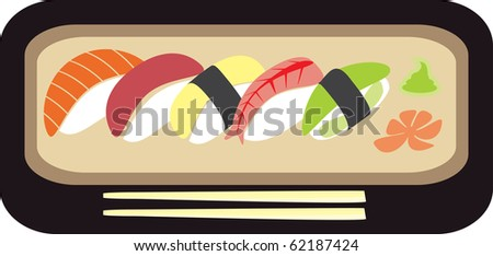 Sushi set - vector illustration - stock vector