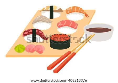 Sushi set vector.Shrimp sushi, Octopus, Salmon fish sushi, Tuna sushi, Acne, Sushi roll caviar, soy souse with chopstick.Japanese, Asian food on table, cartoon style.Isolated on white background, flat - stock vector
