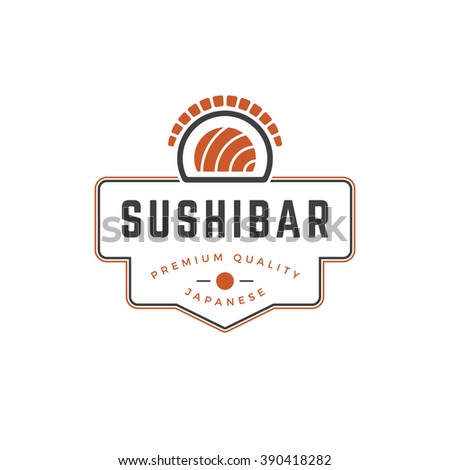 Sushi Shop Logo Template. Vector object and Icons for Sushi Labels or Badges,  Japanese Food Logos Design, Emblems Graphics. Sushi Roll Silhouette, Japan Restaurant Logo. - stock vector