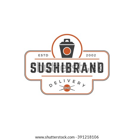 Sushi Shop Logo Template. Vector object and Icons for Sushi Labels or Badges,  Japanese Food Logos Design, Emblems Graphics. Noodles Box Silhouette, Japan Restaurant Logo. - stock vector
