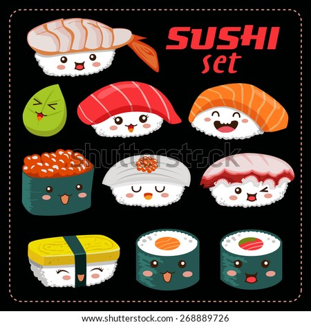 Sushi vector set. Sushi cartoon character illustration. - stock vector