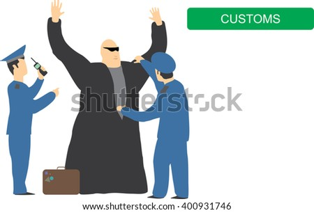 Suspicious passenger. Transport security concept. Bad guy arrested. Vector illustration  - stock vector
