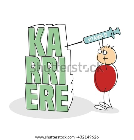 Suspicious red shirted doodle figure holds syringe above his head and looks over shoulder as he inject the letters spelling career in german against a white background - stock vector