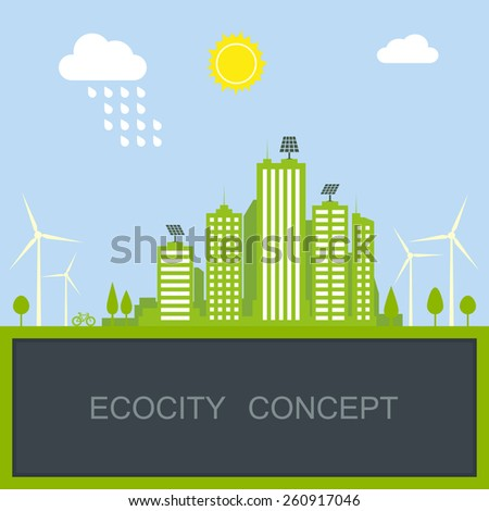 sustainable city concept with green modern building, windmill and solar panel. vector illustration - stock vector
