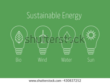 Sustainable Energy icons in light bulbs - stock vector