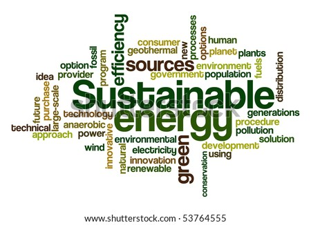 Sustainable energy - Word Cloud - stock vector