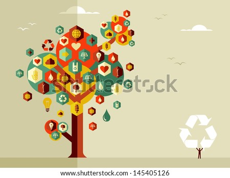 Sustainable icons conceptual tree. Vector file layered for easy manipulation and custom coloring. - stock vector