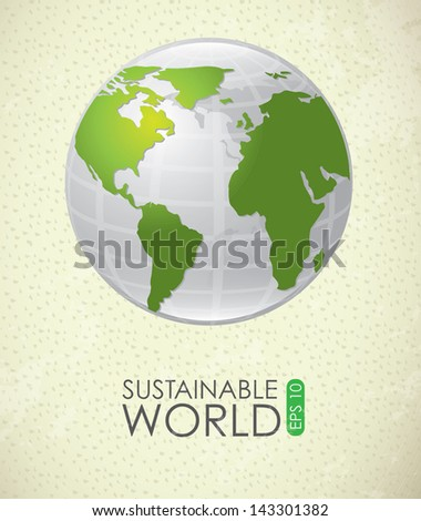 sustainable world over vintage background vector illustration - stock vector