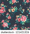 suummer holiday seamless tropical vintage  flowers pattern background - stock photo
