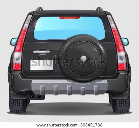 Suv Black Car - Back view  - stock vector