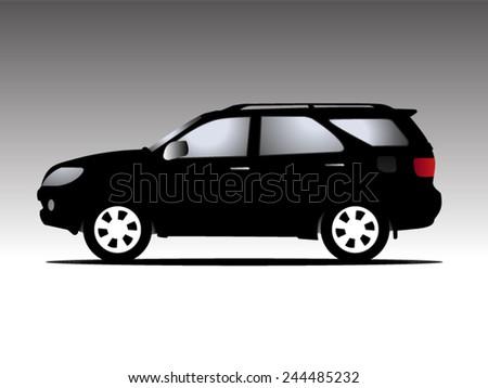 suv car isolated on black, Vector illustration - stock vector