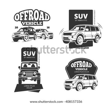 Suv car vector badges and offroad labels. Suv offroad car logo set or 4x4 transport emblems - stock vector
