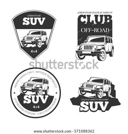 Suv car vector emblems, labels and logos. Offroad extreme expedition, 4x4 vehicle illustration - stock vector