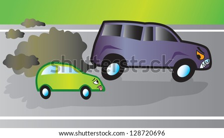 SUV overtaking a smaller fuel efficient car. Both vehicles and the background are on their own layers.