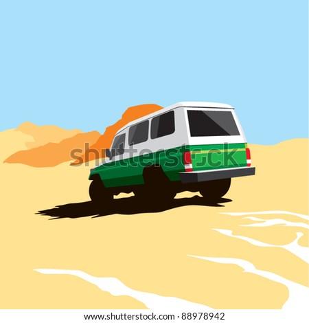 suv safari in the desert - stock vector