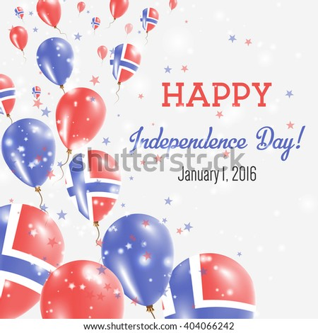 Svalbard And Jan Mayen Independence Day Greeting Card. Flying Balloons in Norwegian National Colors. Happy Independence Day Svalbard And Jan Mayen Vector Illustration.