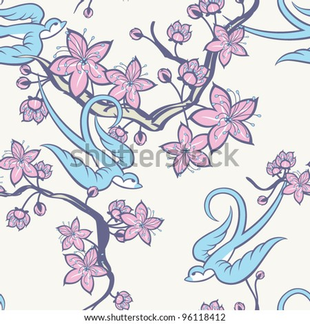 Swallow and Cherry Blossom Seamless Pattern - stock vector