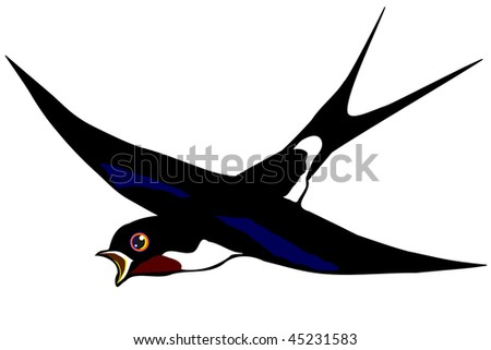swallow flying isolated - stock vector
