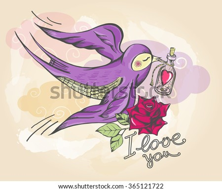 Swallow flying with bottle in beak and rose, vector illustration. Postcard on Valentine's Day.