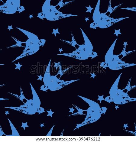 Swallow seamless vector, birds flying, animals, bird silhouette, bird vector. monochrome pattern - stock vector