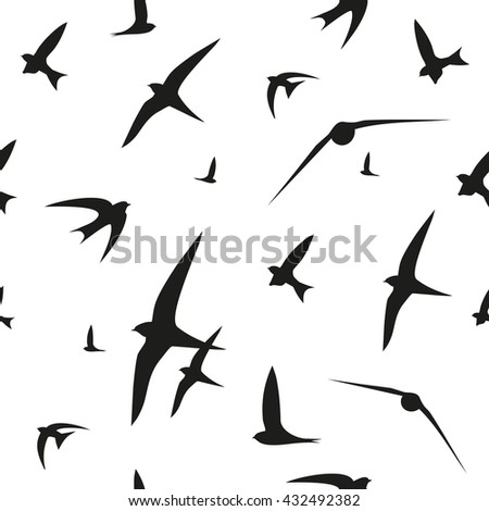 Swallow, swift, birds. Graphic vector pattern. Decorative seamless background - stock vector