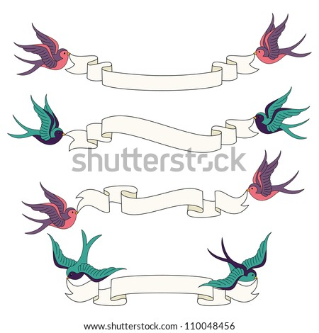 Swallows Flying with Banners Vector Set - stock vector