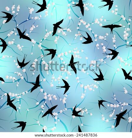 Swallows on sakura blossom background. Seamless pattern. - stock vector