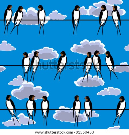 swallows perched on a wire seamless - stock vector