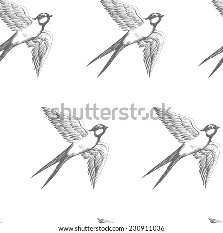 swallows seamless pattern - stock vector