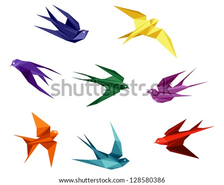Swallows set in origami style isolated on white background. Jpeg version also available in gallery - stock vector