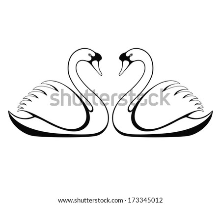 swan mask template - jesters cap icon outline style isolated stock vector
