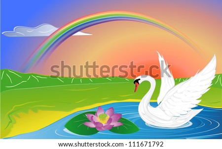swan and lotus on lake in mountain