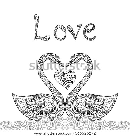 Swan Valentine card illustration - stock vector
