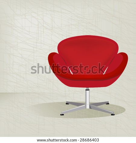 Swanky retro red mid-century modern chair with a subtle modern background texture. Easy-edit layered vector file. - stock vector