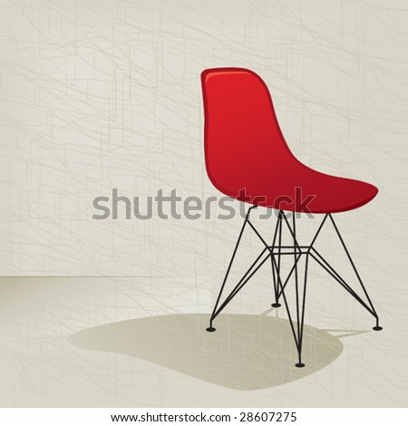 Swanky retro red plastic mid-century modern chair with a subtle modern background texture. Easy-edit layered vector file. - stock vector