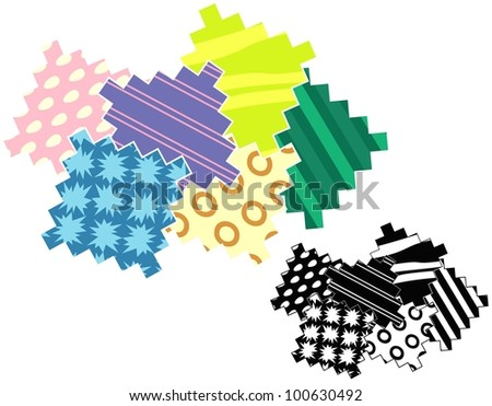 Swatches of colorful fabric patterns. Black only version included. - stock vector