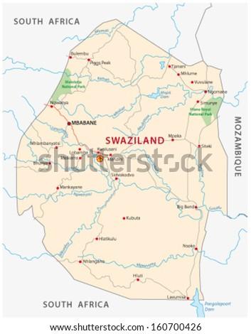 swaziland road map - stock vector