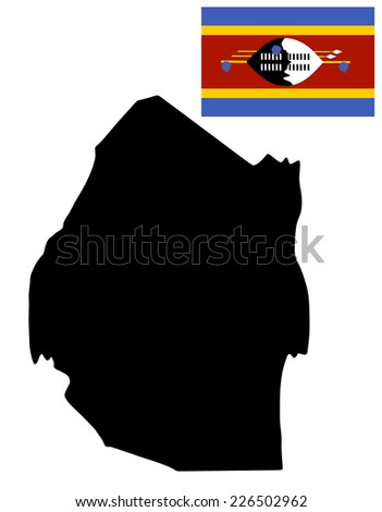 Swaziland vector map and vector flag high detailed silhouette illustration isolated on white background. - stock vector