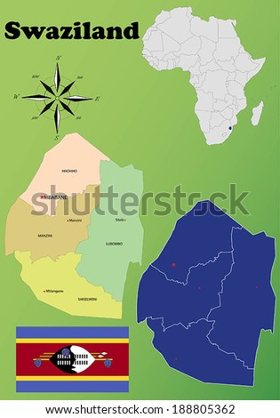 Swaziland vector set. Isolated - stock vector