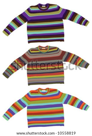 Sweaters are in the 3 different color - stock vector