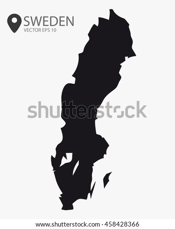 Sweden black map vector illustration