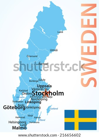 Sweden Vintage Map Flag Vector Illustration Stock Vector - Sweden map population