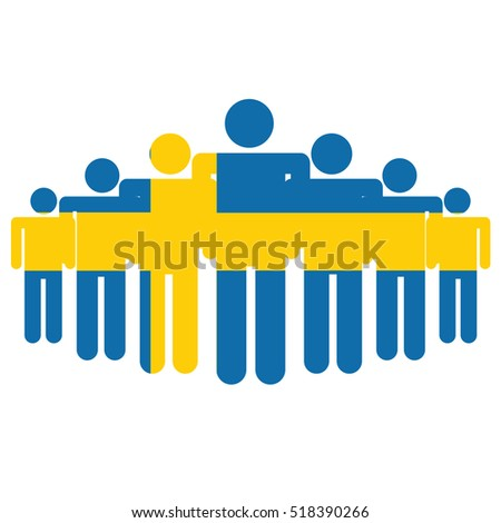 Sweden flag with business people and social community symbol isolated on white