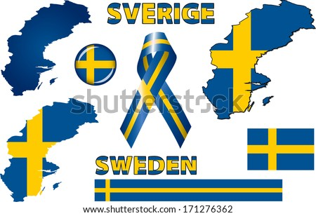Sweden Icons Set Vector Graphic Images Stock Vector 171276362